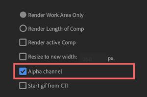 Adobe cc After Effects AE Juice GIF 無料 機能 使い方 解説 設定 Alpha channel