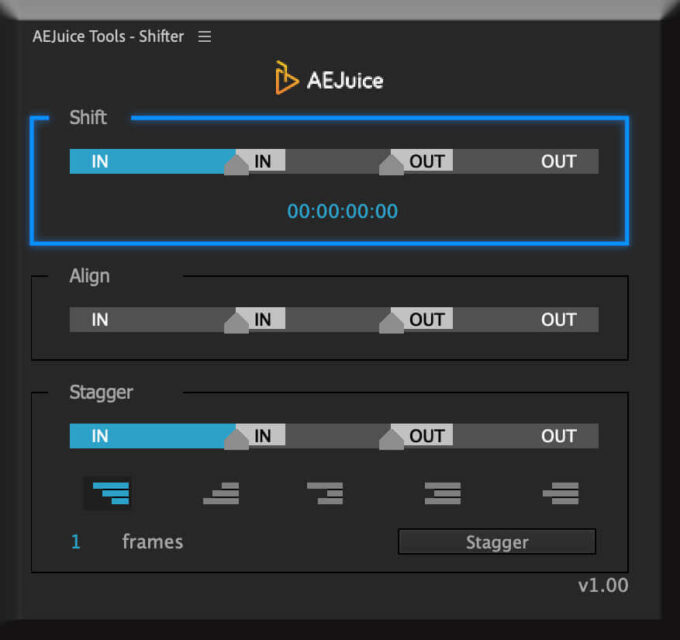 Adobe CC After Effects AE Juice Free Plugin 無料 Shifter 機能 使い方 解説 ツール  Shift