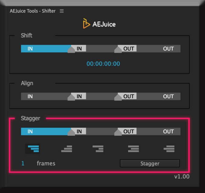 Adobe CC After Effects AE Juice Free Plugin 無料 Shifter 機能 使い方 解説 ツール Align