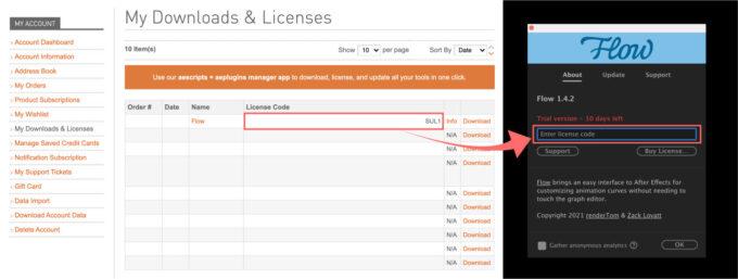 Adobe CC After Effects プラグイン Flow ライセンス コード 入力 認証