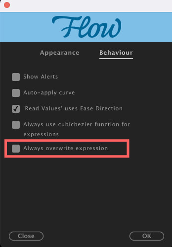 Adobe CC After Effects Plugin Flow Preferences Behaviour Always overwrite expressions