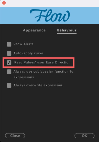 Adobe CC After Effects Plugin Flow Preferences Behaviour 'Read Values' used Ease Direction