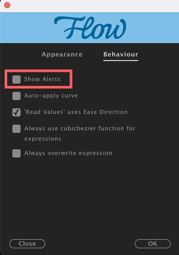 Adobe CC After Effects Plugin Flow Preferences Behaviour Show Alerts