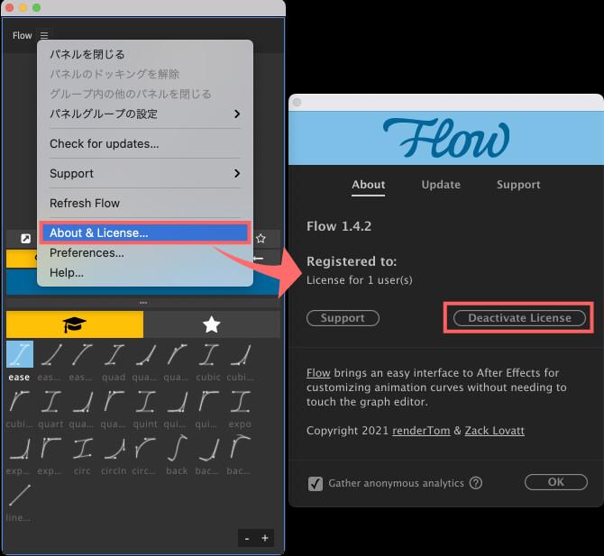 Adobe CC After Effects Plugin Flow ライセンス 消去 削除