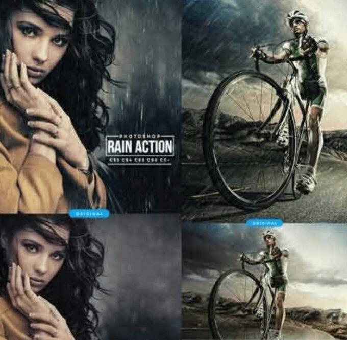 Adobe Photoshop Free Action Material 無料フリー アクション 素材 雨 レイン Rain Photoshop Action