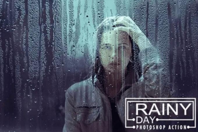 Adobe Photoshop Free Action Material 無料フリー アクション 素材 雨 レイン Rainy Day