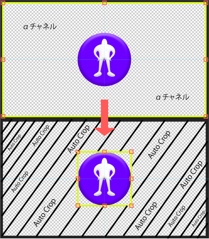 Adobe CC After Effects Auto Crop 機能 使い方 解説  アルファチャンネル 削除