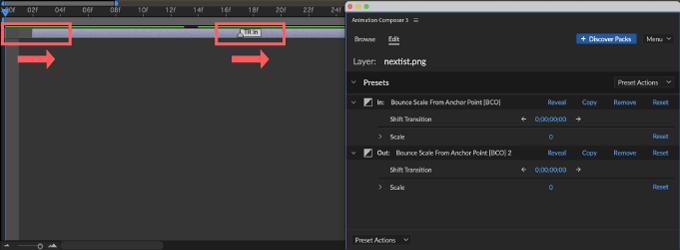 Adobe CC After Effects Animation Composer Starter 無料 機能 解説 Edit 操作 調整 Shift Transition