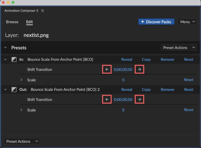 Adobe CC After Effects Animation Composer Starter 無料 機能 解説 Edit 操作 調整 Shift Transition 矢印