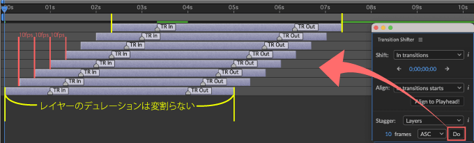 Adobe CC After Effects 無料 プラグイン Animation Composer Transition Shifter 解説 機能 無料 プラグイン Transition Shifter Stagger Layer Ascending