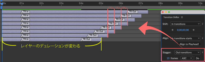 Adobe CC After Effects 無料 プラグイン Animation Composer Transition Shifter 解説 機能 無料 プラグイン Transition Shifter Stagger Out transitions Ascending