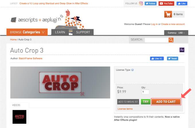 Adobe CC After Effects Auto Crop 買い方 購入方法 解説 ADD CART