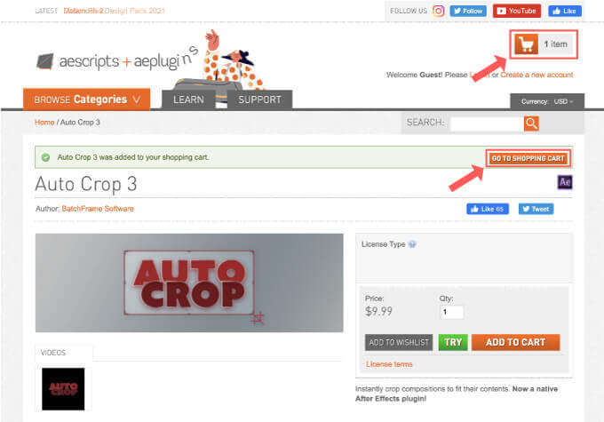 Adobe CC After Effects Auto Crop 買い方 購入方法 解説 GO TO SHOPPING CART