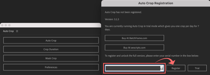 Adobe CC After Effects Auto Crop 機能 使い方 解説 無料  ダウンロード インストール 方法 ライセンスコード ペースト