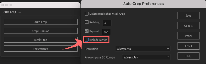 Adobe CC After Effects Auto Crop 機能 使い方 解説 Preferences 環境設定 Include Masks OFF