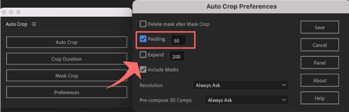 Adobe CC After Effects Auto Crop 機能 使い方 解説 Preferences 環境設定 Padding
