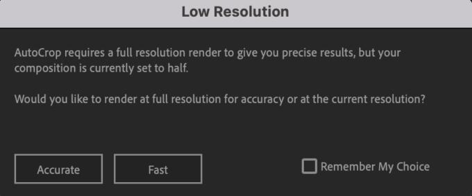 Adobe CC After Effects Auto Crop 機能 使い方 解説 Preferences 環境設定 Low Resolution