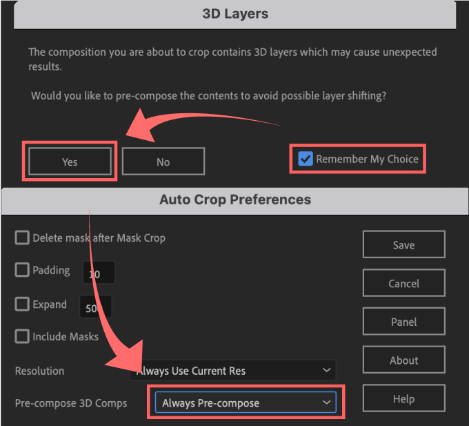 Adobe CC After Effects Auto Crop 機能 使い方 解説 Preferences 環境設定 Resolution Pre-compose 3D Comps Always Pre-compose