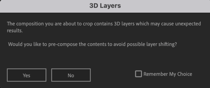 Adobe CC After Effects Auto Crop 機能 使い方 解説 Preferences 環境設定 Resolution Pre-compose 3D Comps