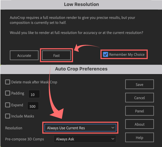 Adobe CC After Effects Auto Crop 機能 使い方 解説 Preferences 環境設定 Resolution Fast Remenber Me Choice