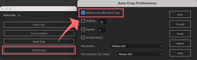 Adobe CC After Effects Auto Crop 機能 使い方 解説 Preferences 設定