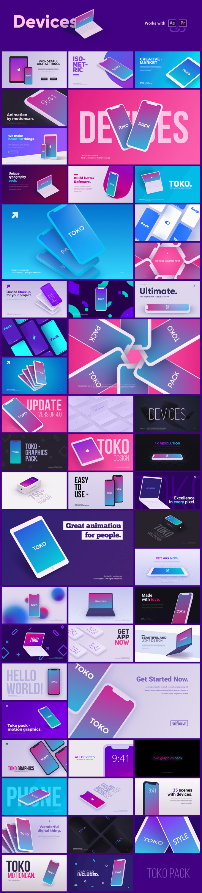 Adobe CC After Effects Toko Graphics 使い方 解説  プリセット Devices