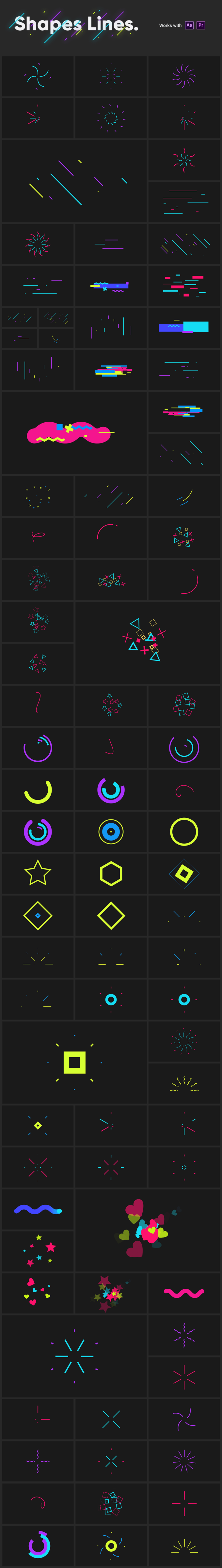 Adobe CC After Effects Toko Graphics 使い方 解説  プリセットShapes Lines