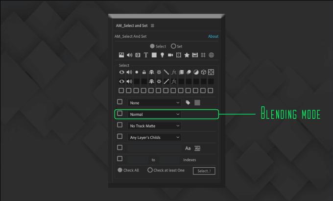 Adobe CC After Effects Free Script AM Select And Set 機能 使い方 無料 スクリプト おすすめ 解説 機能 レイヤー 描画モード