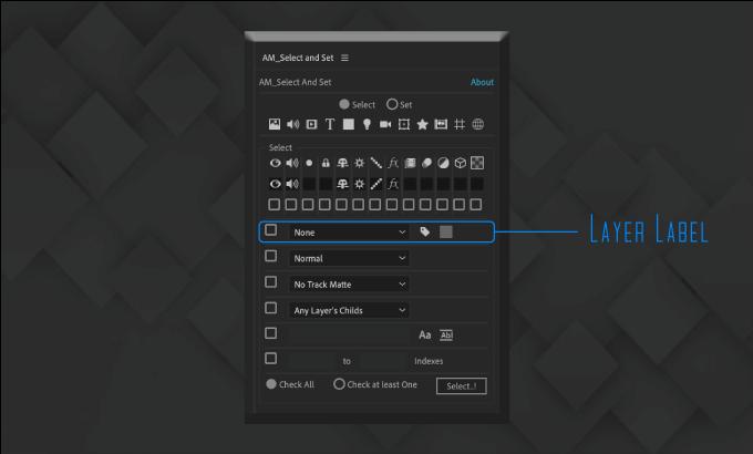 Adobe CC After Effects Free Script AM Select And Set 機能 使い方 無料 スクリプト おすすめ 解説 機能 レイヤー ラベル
