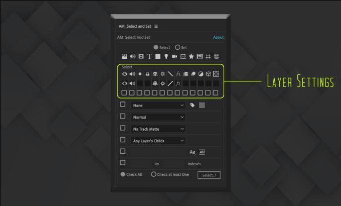 Adobe CC After Effects Free Script AM Select And Set 機能 使い方 無料 スクリプト おすすめ 解説 機能 レイヤー 設定