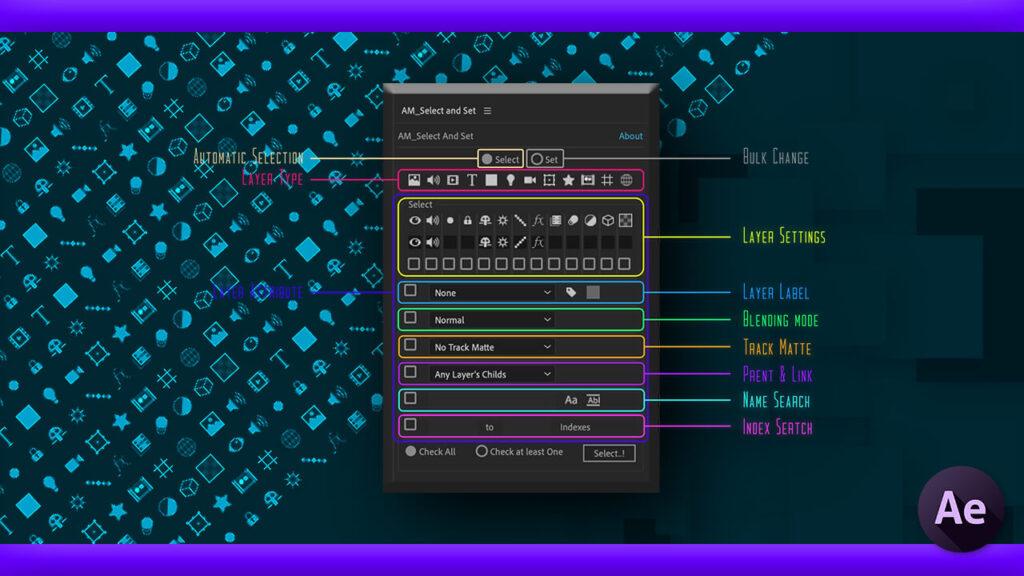 Adobe CC After Effects Free Script AM Select And Set 機能 使い方 無料 スクリプト おすすめ 解説 機能 レイヤー 設定 一括変更